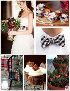A rustic inspired Christmas wedding with red, black, and white plaid, evergreen sprigs, pinecones, ornaments, and salted caramel cupcakes.