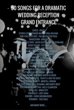 32 new Ideas wedding songs reception entrance playlists - Hochzeit Grand Entrance Songs, Reception Entrance Songs, Wedding Songs Reception, Wedding Song List, Wedding Playlist, Wedding Music, Dream Wedding, Entrance Ideas, Trendy Wedding