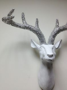 White W/ Silver Crystals Antlers Deer Hear/ faux taxidermy deer head wall hanging. $350.00, via Etsy.