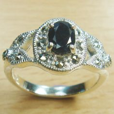 Oval Cut Genuine Sapphire Marcasite 925 Sterling Silver Solitaire Ring