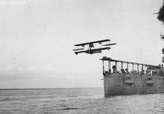 A Curtiss Model AB-2 airplane catapulted off the deck of the USS North Carolina on July 12, 1916. The first time an aircraft was ever launched by catapult from a warship while underway was from the North Carolina on November 5, 1915.