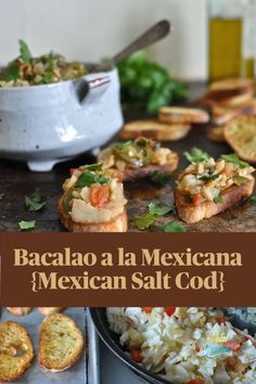 This tasty, healthy salt cod appetizer is perfect for holiday entertaining. Sautéed with tomatoes, jalapenos, capers, and fresh parsley these bites are delicious on toasted garlic bread. #bacalao #saltcod #bacalaomexico #codbacalao
