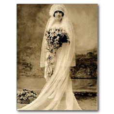 Vintage Hochzeit eine Braut Postkarten