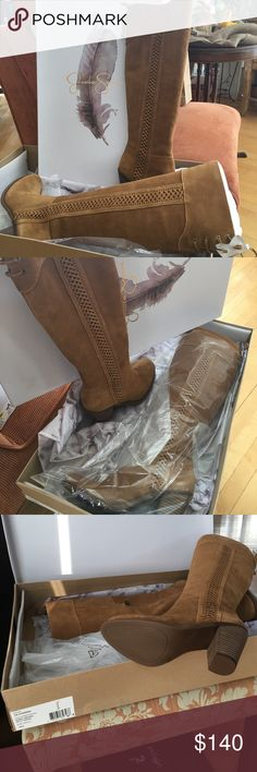 Jessica Simpson tall suede boots. Jessica Simpson tall suede boots. Honey brown size 8 NEW in the box. Gorgeous braid look up the side and a little tie off the back. Jessica Simpson Shoes Heeled Boots