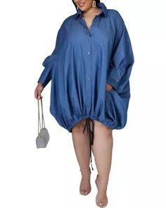 US$ 36.9 - Drawstring Slouchy Shirt Dress - m.wokeep.com Slouchy Shirt, Fall Outfits For Teen Girls, Button Dress, Dress Brands, Casual Looks, Rain Jacket, Dressing, Shirt Dress, Coat