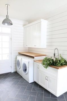 How to Get Fixer Upper Style With Shiplap. How to Get Fixer Upper Style With Shiplap. Syd and Shea McGee of Studio McGee are here with an inspired guide to help you achieve the ideal shiplap look for your home. I just love it and I bet Laundry Room Tile, White Laundry Rooms, Laundry Room Cabinets, Basement Laundry, Farmhouse Laundry Room, Laundry Room Organization, Laundry Room Design, Storage Organization, Small Laundry