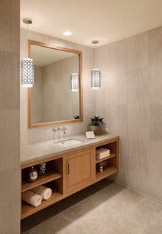 Bathroom inspiration, nice big mirror.