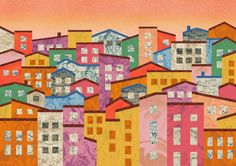 Orie's scenery art. Cinque Terre houses in Italy #建物のイラスト #チンクエテッレ #Cinque Terre #アート # おしゃれなイラスト Home Activities, Cinque Terre, Painting, Painting Art, Paintings, Painted Canvas, Drawings