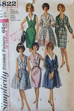 1960s Dress Pattern - Vintage Simplicity 5822 Sewing Pattern - Bust 34