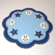 Christmas Snowman & Star Design Penny Rug Style Tree by maryimp, $55.00