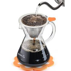 Easehold Pour Over Coffee Maker Drip Brewer Borosilicate Glass with Bonus Heat Resistant Silicone Mat (500ml)