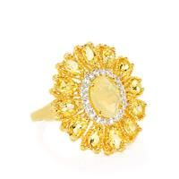 Ethiopian Opal, Golden Beryl & White Topaz Gold Plated Sterling Silver Ring ATGW 3.63cts