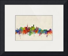 """Beijing China Skyline"" by Michael Tompsett, Castellon // Watercolor art print of the skyline of Beijing, China // Imagekind.com -- Buy stunning fine art prints, framed prints and canvas prints directly from independent working artists and photographers."