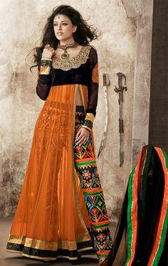 Magnificent Orange and Black Color Fashion Designer Salwar Suit