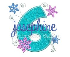 Snowflakes Number Six 6th Birthday Applique Machine Embroidery Design sixth winter frozen INSTANT DOWNLOAD by AppliquetionStation on Etsy https://www.etsy.com/listing/260449814/snowflakes-number-six-6th-birthday