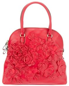 #Valentino Leather Floral Bag in Red (floral)