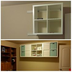 Craft room storage with Ikea Kallax shelfs hung on walls.  Screwed 1x3's into studs to secure the shelf to.