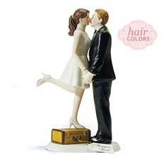 Custom A Kiss and We're Off Cake Topper | Custom Wedding Cake Toppers