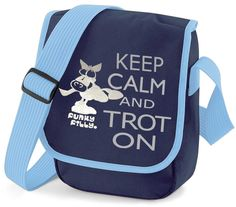 Funky Filly Keep Calm and Trot On Silver Horse Cross Body Shoulder Bag