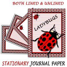 Ladybug Journal Paper  Lady Bug Unlined & by ArtWildflowersDigi
