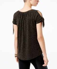 INC Petite Metallic Cold-Shoulder Top, Created for Macy's - Gold P/XL