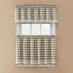 Window Accents Norwalk Plaid Rod Pocket 3-pc. Tier Curtain Set, Beig/Green (Beig/Khaki)