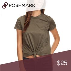 Faux Suede Knot Tee Olive - faux suede top with short sleeves, crew neck, and knotted detail Tops Tees - Short Sleeve