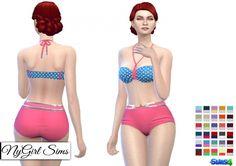 Retro Polka Dot Bikini with Chain Belt at NyGirl Sims • Sims 4 Updates