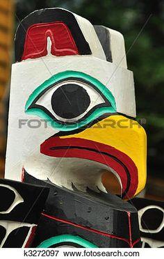 close-up, van, adelaar, totempaal Bekijk Grotere Foto