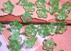 Czech Glass 8x13mm Peridot Trumpet Flower Beads - 25 Count by beadbarnsupplies on Etsy