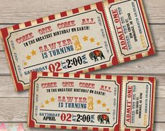 The circus is in town! Come one come all to the greatest Birthday Party on Earth. This vintage circus ticket invitation is perfect for a carnival or circus themed birthday party. .......................................................................................................  Hello!! We are Patricia & Patrick, husband & wife design duo that is the creative talent behind 2 Bird Studios. Contact us if your questions are not answered below.    VISIT OUR SHOP FOR A HUGE SELECTION O...