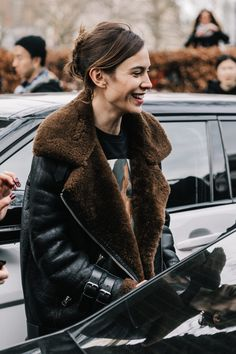 LFW Street Style III | Collage Vintage  alexa chung leather jacket shearling