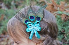 feather hairbows for girls | Teal Peacock Feather Hair Bow - Peacock Hair Accessories for Girls ...