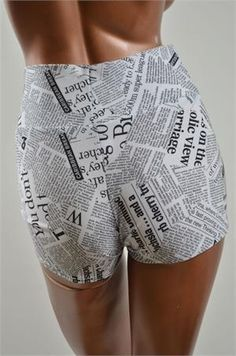UV Glow Newspaper Print High Waist Shorts