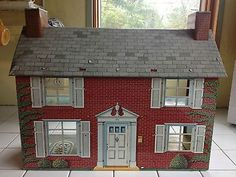 Vintage Tin Dollhouse RARE Two Chimneys | eBay