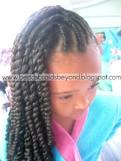 Double twist on the scalp and three strand twist :) CUTE!