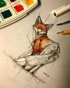 Fox Sketch Watercolor Psdelux by psdeluxe
