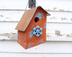 Rustic Birdhouse Outdoor Garden Decor Bird House Orange Decorative Wood Vintage Faucet