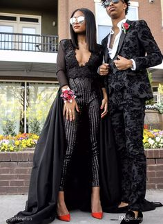 2017 Sexy Prom Dresses Stunning Jumpsuit Black Evening Wear Long Sleeves Sequins Beaded Prom Gowns With Court Train Designer Prom Dresses Elegant Prom Dresses From Yaostore, $160.97| Dhgate.Com