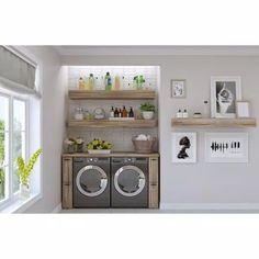 Laundry Room Shelves, Laundry Room Remodel, Laundry Closet Makeover, Basement Makeover, Exterior Makeover, Rustic Laundry Rooms, Laundry Room Design, Laundry Decor, Rustic Floating Shelves
