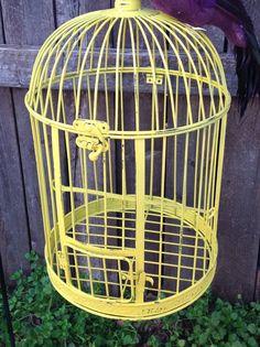 Round Yellow Bird Cage w/Feathered Bird 17 by ReFeatherYourNest