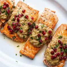 Pan-Seared Salmon with Walnut-Olive Pesto and Pomegranate