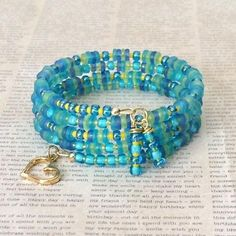 Memory Wire Bracelet Beaded Cuff Bracelet Colorful Spiral Wrap