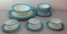 Vintage Pyrex Opalware Turquoise Blue & White Lot 17 Plates Bowls Cups Saucers