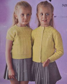 Vintage knitting pattern girl's twin set top by TheVintageWorkbox