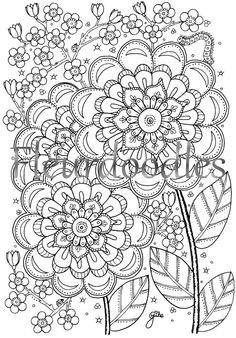 Blütentraum  Malseite für Erwachsene  Malvorlage von fleurdoodles