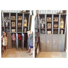 Our cousin and his wife found this old set of lockers, removed the top doors, added wood for shelves and gave them a coat of grey paint to create this awesome command center that not only looks amazing but hides their kids junk! Great idea guys! We want one  #shanty2chic #openconcept #hgtv #diynetwork