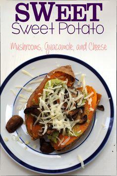 Baked Sweet Potato stuffed with smashed avocado, sautéed mushrooms, and gruyere. Easy Gluten Free Comfort Food