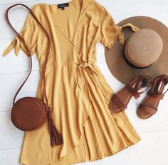 My Philosophy Golden Yellow Wrap Dress Straw hat, yellow dress, tan cross body bag, tan strappy sandals. The post My Philosophy Golden Yellow Wrap Dress appeared first on Beauty Shares. Mode Outfits, Casual Outfits, Fashion Outfits, Dress Fashion, Casual Jeans, Casual Chic, Fashion Movies, School Outfits, Large Size Dresses