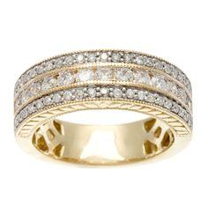 Sofia 14k Yellow Gold 1ct TDW Certified Round Multi Row Diamond Band (H-I, I1-I2) - Overstock™ Shopping - Big Discounts on Sofia Women's Wedding Bands